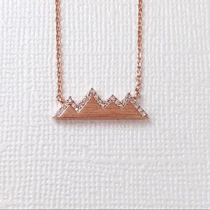 Jewelry - Rose Gold Pave CZ Mountain Dainty Necklace